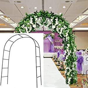 HANDIC 7.9 Ft 1 Set Metal Wedding Arch Garden Arbor Indoor Outdoor Lightweight Assemble Freely Metal Arch for Climbing Plant Bridal Party Decoration Pergola Arbor (Black)