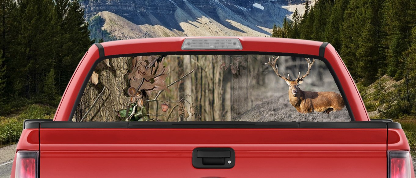 Amazon com deer hunting camo with big buck in the woods nice rack full color back window graphic decal truck backscape 66 x 20 inches automotive