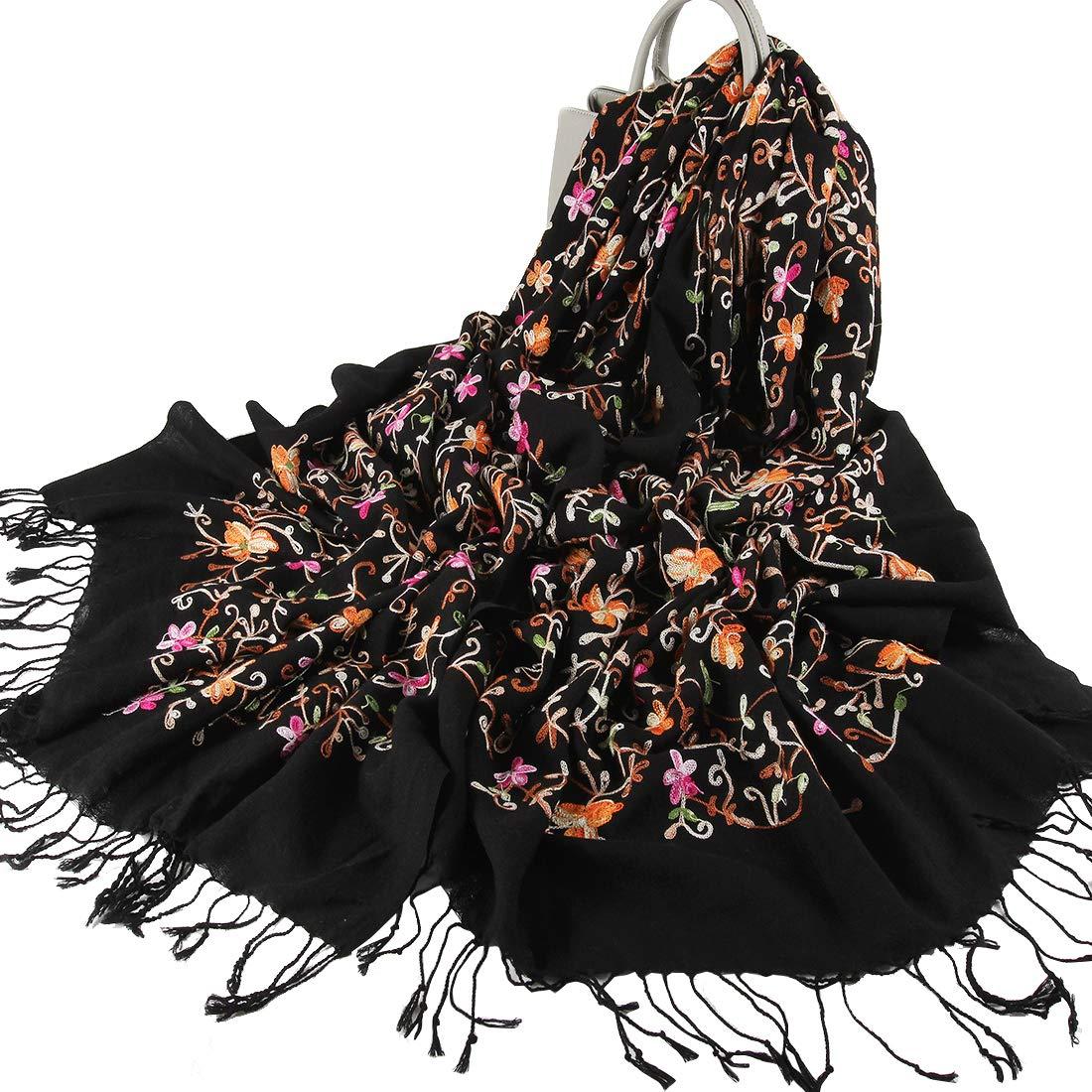 Black01 DANA XU Embroidery Wool Large Size Winter Women Pashmina Shawls and Wraps (Black & pink)