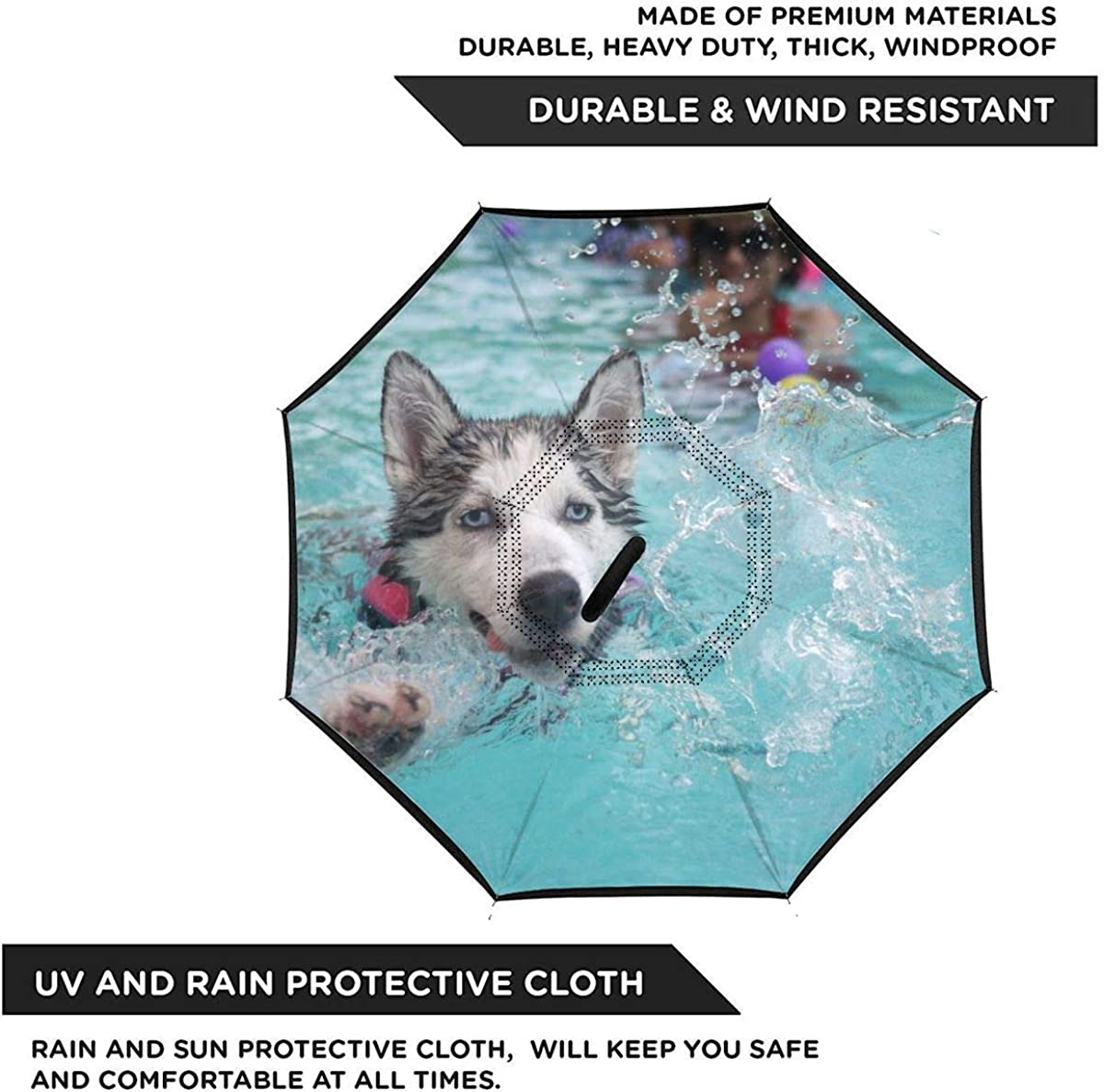 Reverse Umbrella Double Layer Inverted Umbrellas For Car Rain Outdoor With C-Shaped Handle Dog Animal Puppy Huskies Siberian Husky Personalized