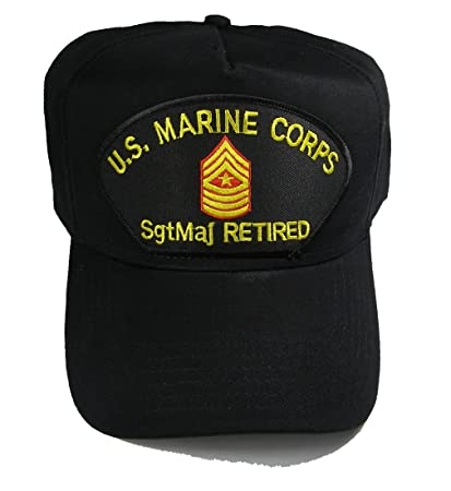 US MARINE CORPS SGTMAJ RETIRED HAT with Sergeant Major Rank In The Center  cap - BLACK - Veteran Owned Business