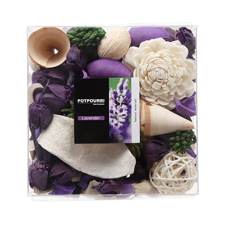 Qingbei Rina Gifts,Purple Lavender Scent Potpourri Bag,including Flower,Petal,Pinone,Rattan Ball,Sepa Takraw,Perfume Satchet in PVC Bags.Home Decoration.10.2oz.