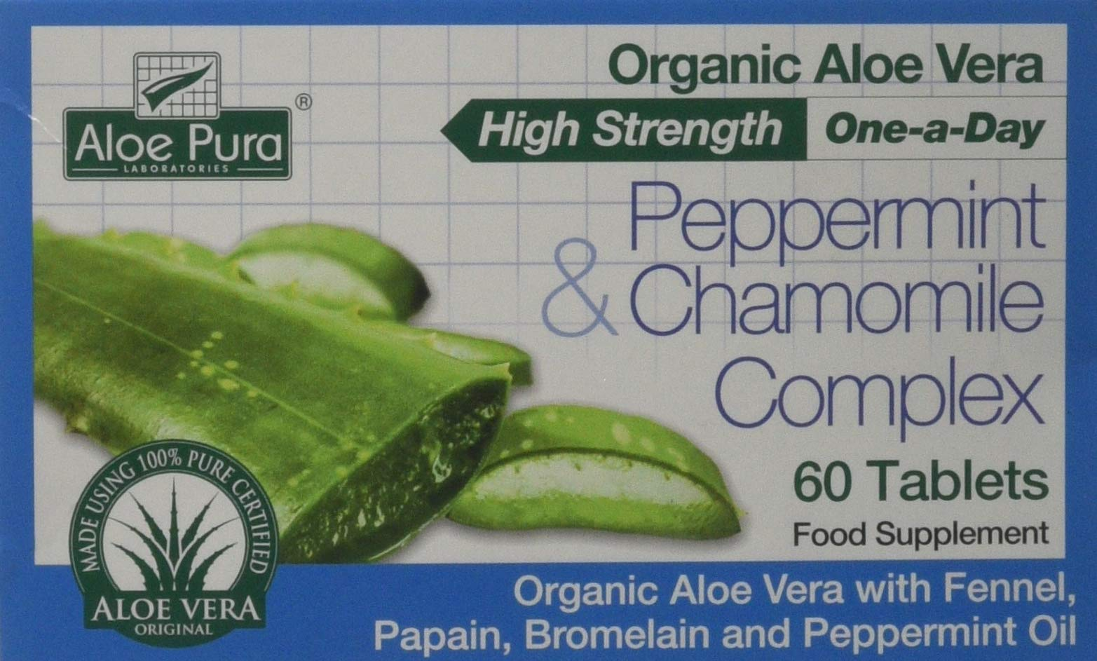 Aloe Vera Peppermint and Chamomile Complex Tablets - 60