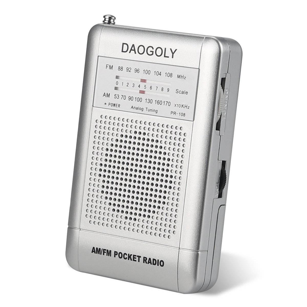 Portable Pocket AM/FM Radio Receiver with Clip/Telescopic Antenna/Speaker/AM FM Band, Handheld Mini Size Analog Tuning Radio Transistor,AA Battery Operated