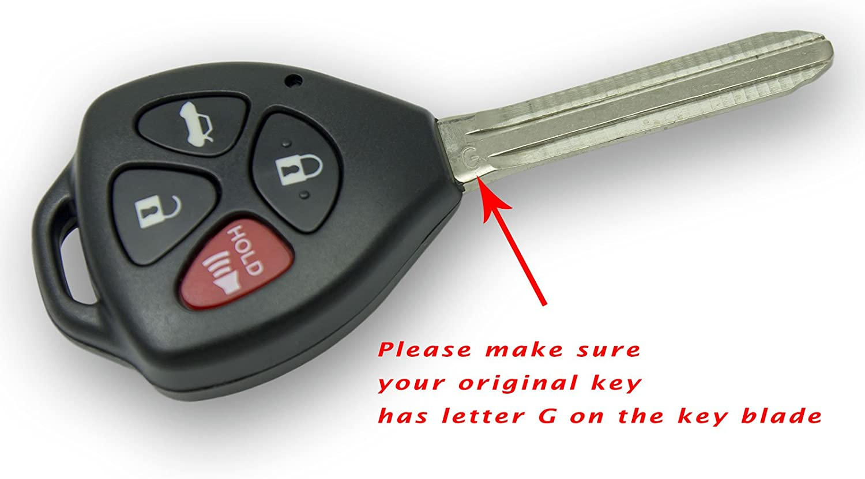 Keyless2Go 2 New Keyless Entry Remote Car Key for 2011 Toyota Camry HYQ12BBY with G Chip