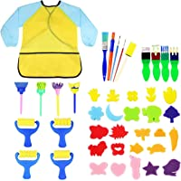 TOOGOO Kids Early Learning Sponge Painting Brushes Kit, 42 Pieces Sponge Drawing Shapes Paint Craft Brushes for Toddlers Assorted Pattern, Including Children Waterproof Art Painting