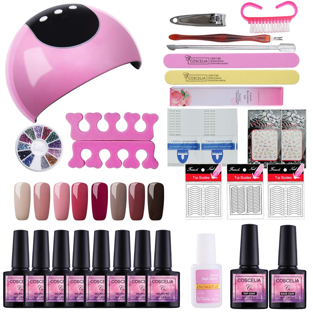 Fashion Zone 8 Colors Gel Nail Polish Starter Kit with 24W LED Nail Dryer Lamp, Gel Nail Polish and Base Top Coat, Manicure Tools Set for Home Salon by Fashion Zone