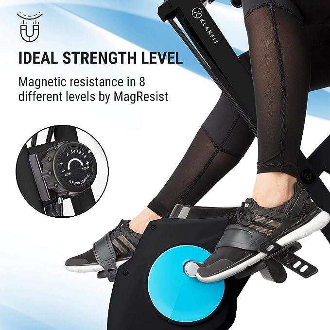 Klarfit Azura Plus V/élo dexercice 3-en-1 /• Fitness Bike /• Cardio Training /• Entra/înement par Courroie /• Pulsom/ètre /• 8 Niveaux de r/ésistance magn/étique