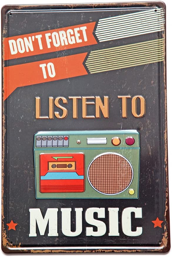 New Deco Don't Forget To Listen To Music, Metal Rustic Vintage Tin Sign Wall Decor Art 8X12 Inches(20x30cm)