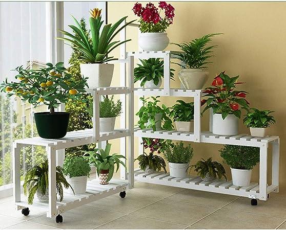 Lsrryd Soportes Plantas Madera con Ruedas Estantería Mult Niveles Estante Decorativo Macetas para Exterior Interior Jardín (Color : Blanco): Amazon.es: Hogar