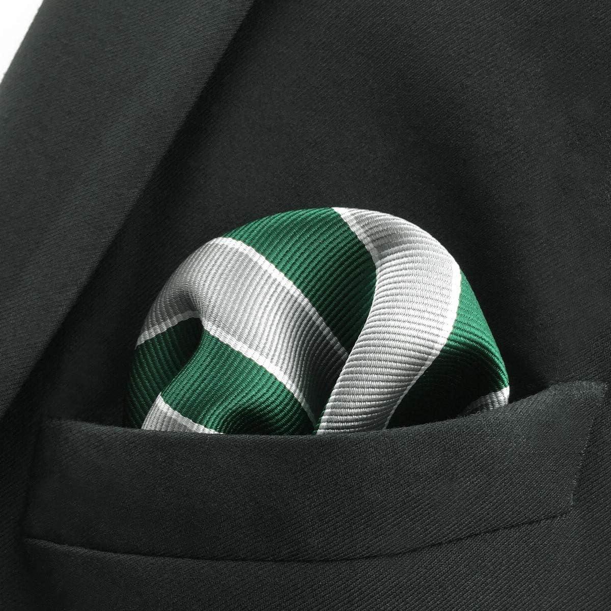 SHLAX/&WING Ties for Men Stripes Silk Mens Necktie Grey Green Jacquard Weave