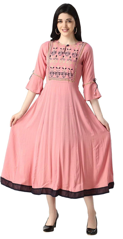Buy Slub Rayon Fully Stitched Anarkali Kurti for Women