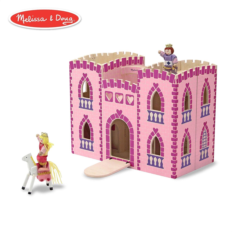 Amazoncom Melissa Doug Fold Go Wooden Princess Castle Pretend