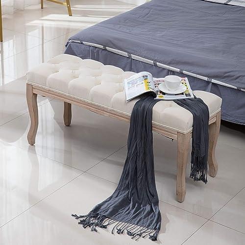 Best ottoman chair: SSLine 43.3″ Upholstered Bed Bench Elegant Button Tufted Ottoman