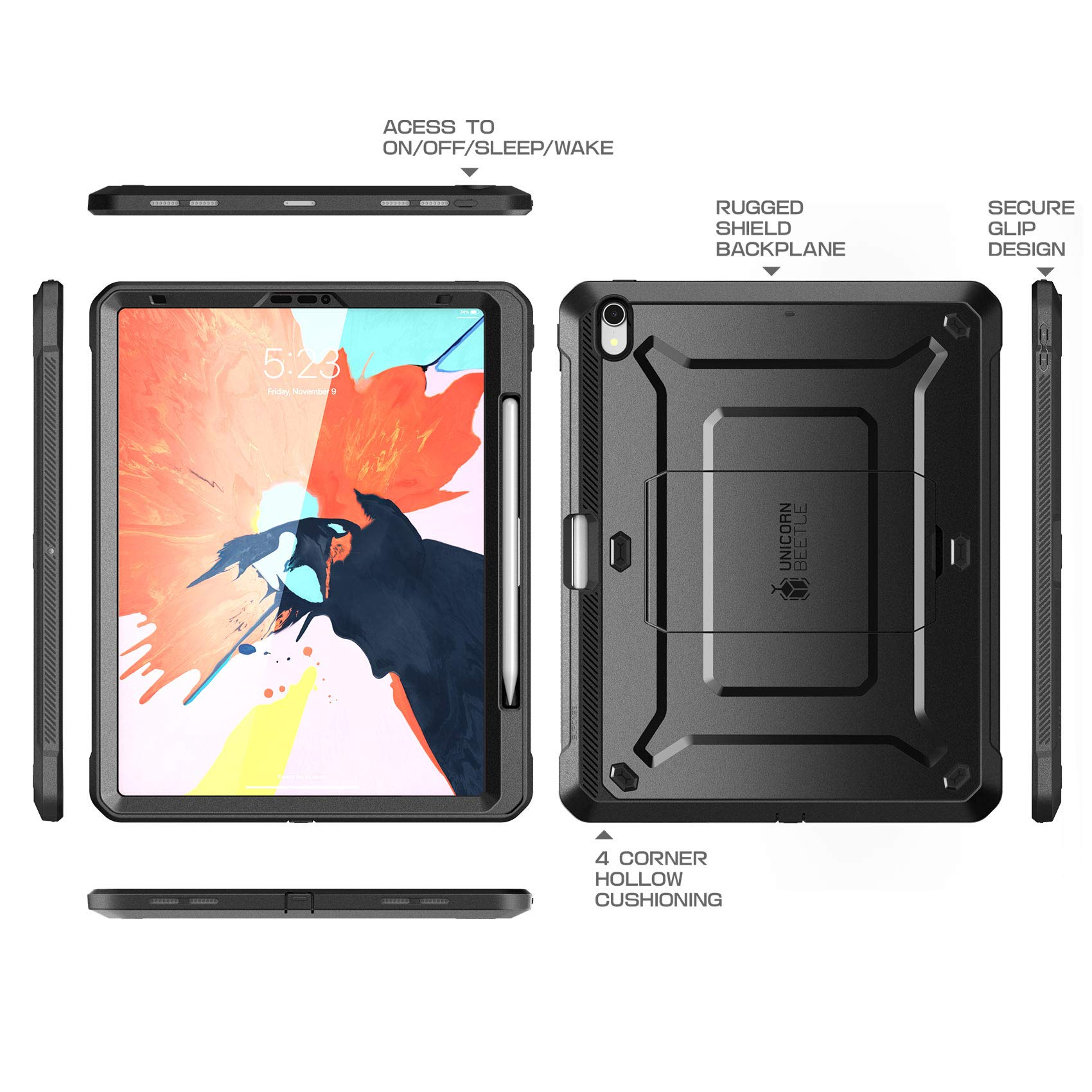 SUPCASE Case for iPad Pro 11 2018, Support Pencil Charging with Built-in Screen Protector Full-Body Rugged Kickstand Protective Case for iPad Pro 11 inch 2018 Release-UB Pro Series (Black) by SUPCASE (Image #3)