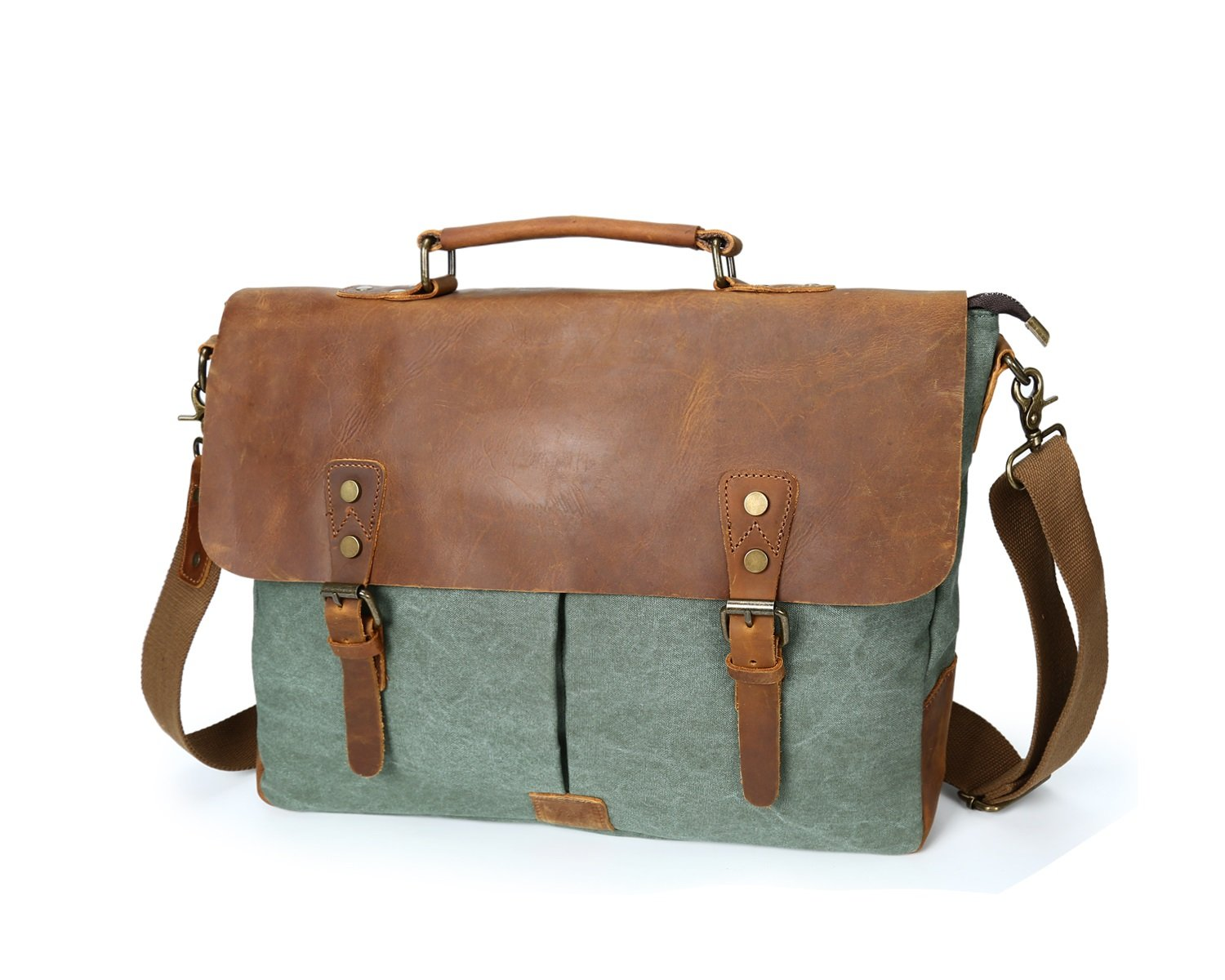 Color : Bronze, Size : M XINXI-MAO Mens Shoulder Bag Retro Crazy Horseskin Bag Crossbody Canvas Bag Laptop Bag