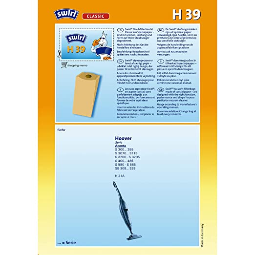 Amazon.com: MMSB-GmbH Swirl vacuum bag H39 / H 39 for Hoover ...