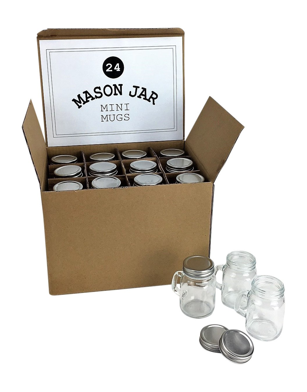 Mason Jar 4 Ounce Mugs - Set of 24 Glasses With Handles And Leak-Proof Lids - Great For Gifts, Drinks, Favors, Candles And Crafts