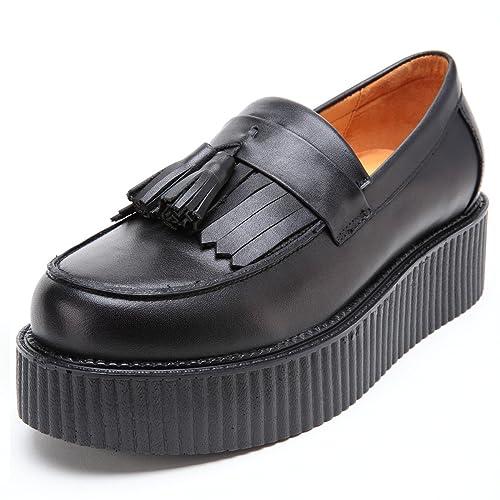 Hombre Cuero Mocasines Plataforma Creepers Loafers Casual Zapatos: Amazon.es: Zapatos y complementos