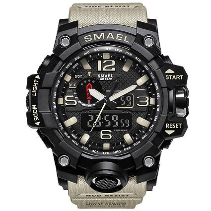 Richermall Men s Sports Analog Quartz Watch Dual Display Waterproof Digital  Watches with LED Backlight relogio masculino e011b966b5