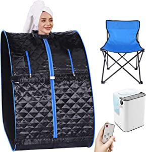 Angotrade Portable Steam Sauna, Personal Therapeutic Sauna Tent Home Spa for Weight Loss Detox Relaxation,One Person Sauna with Remote Control,Foldable Chair (29.5 x 35 x 40.3inch, Black Blue)