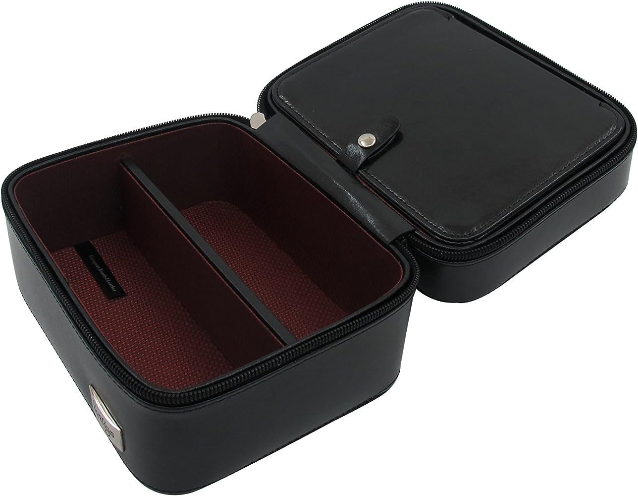 CORDAYS - Estuche para 2 Relojes y 2 Gafas Caja Organizadora Relojes y Gafas. - Hecho a Mano en Piel - Compacto y Cierre de Cremallera. Ideal para Viaje CDM-00002: Amazon.es: Relojes