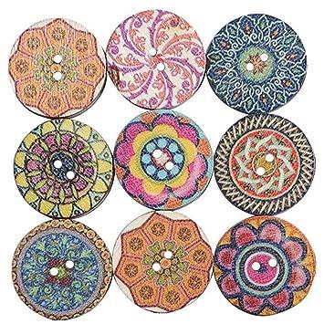 ZREAL 100 stücke Holzknöpfe Mixed Entzückende Blumen Muster Nähen ...