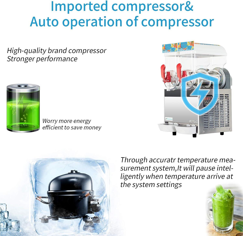 15Lx 2Tank Nurxiovo Commercial Slush Machine 400W Frozen Drink Slushie Maker Stainless Steel Slushie Machine Slushy Machine 110V for Ice Juice Coffee Tea