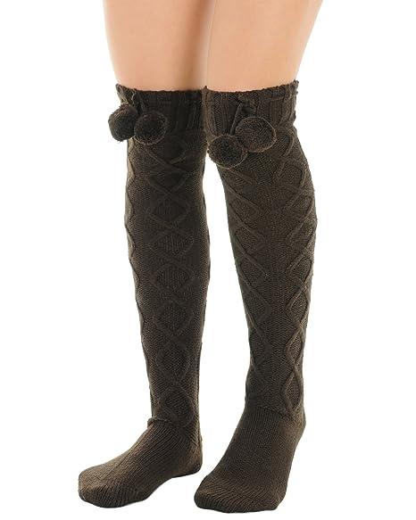 ea1f4dd3bbe Amazon.com  Womens Brown Over the Knee Socks Pom Poms Boot Socks Diamond  twist pattern  Clothing
