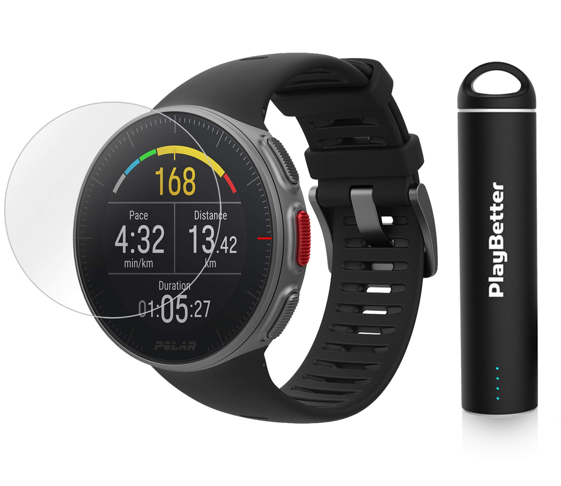 PlayBetter Polar Vantage V Pro Multisport Watch (Black) Power Bundle Portable Charger & Screen Protectors | GPS & Barometer | Heart Rate by PlayBetter (Image #1)