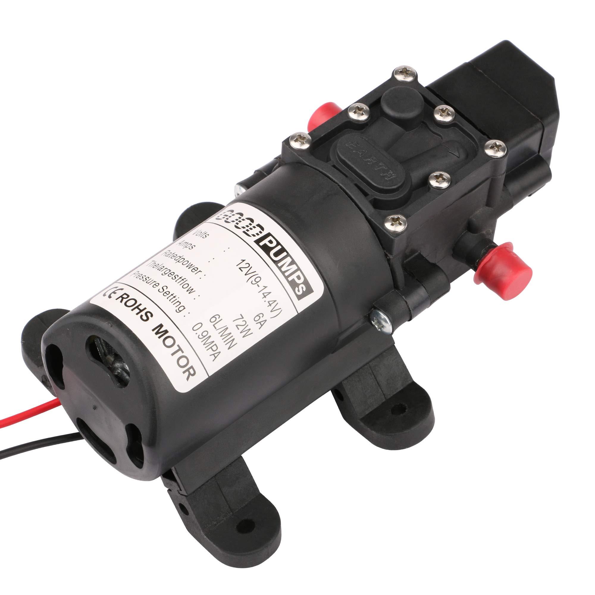 Driew Water Pressure Diaphragm Pump,12V DC Self Priming RV Fresh Water Diaphragm Booster Sprayer Pump Micropump for Garden/Car Washing/Caravan/ Boat/Marin