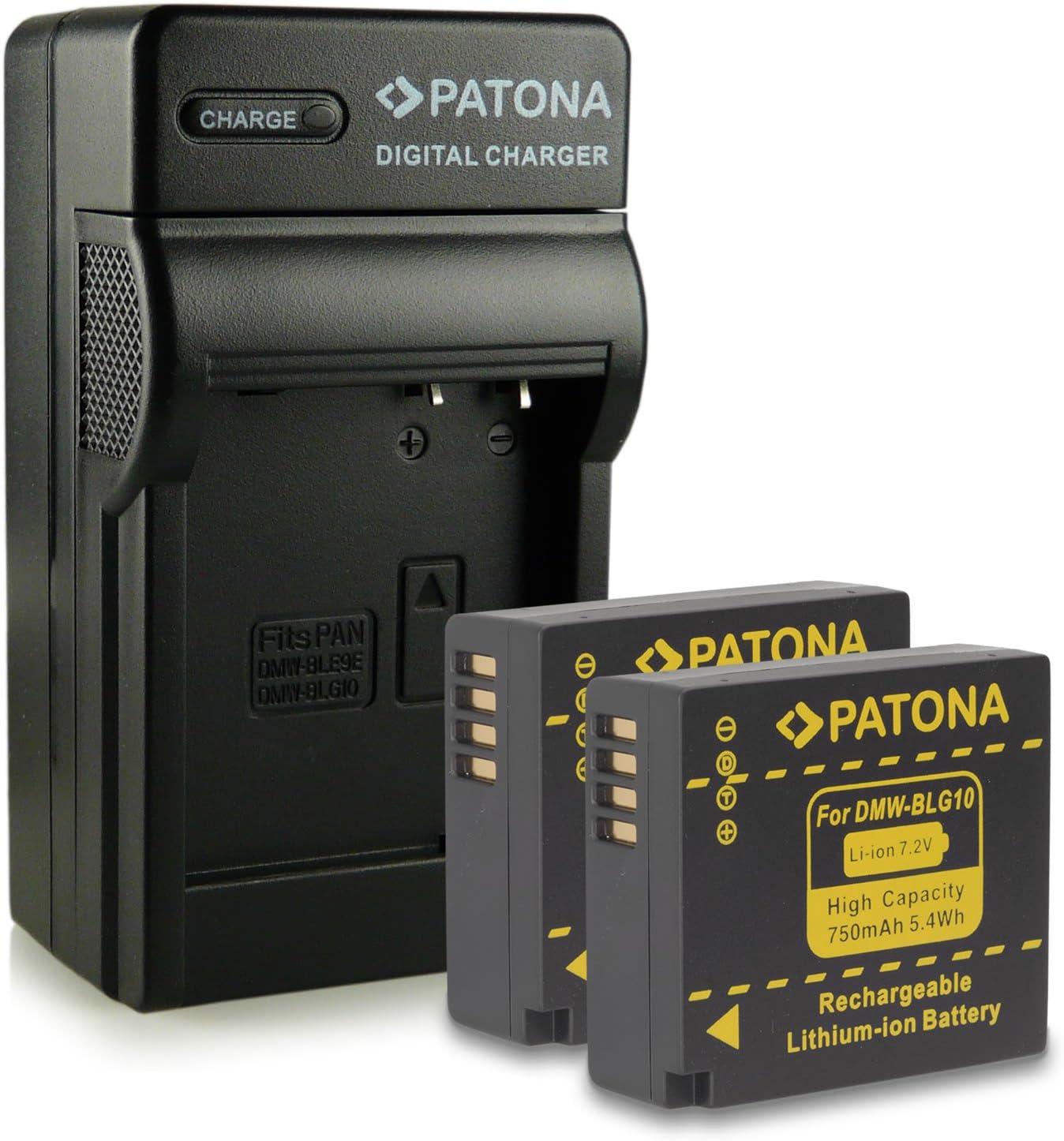 Bundle - 4en1 Cargador + 2x Batería DMW-BLG10 DMW-BLG10E para Panasonic Lumix DMC-GF6   Lumix DMC-GX7 mucho más… [ Li-ion; 750mAh; 7.2V ]