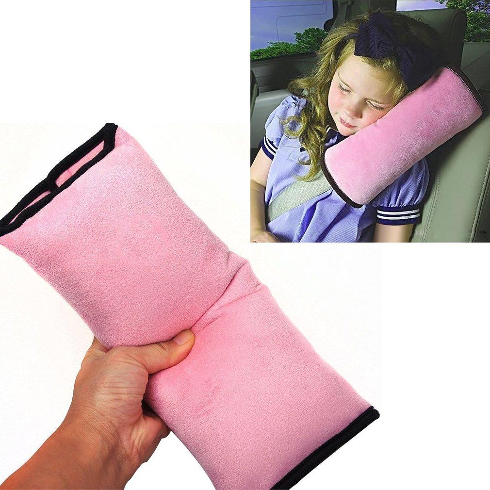 Outop Coussin Oreiller de Sécurité Automobile Détachable Voitures Protection de Cou Epaules pour les Enfants (Rose)
