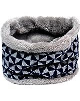 Lo Shokim Winter Double-Layer Fashion Fleece Lining Knit Neck Warmer Circle Scarf Windproof