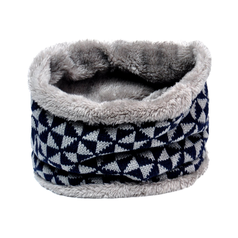 Lo Shokim Winter Double-Layer Fashion Fleece Lining Knit Neck Warmer Circle Scarf Windproof Blue Grey