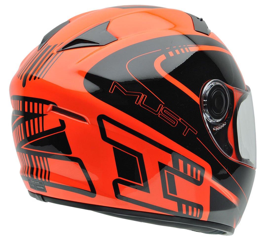 NZI 150196G677 Must Multi Xlogo Orange Casco de Moto, Color Negro y Naranja Flúor, Talla 57 (M)
