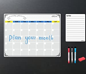 HANTAJANSS Magnetic Dry Erase Monthly Calendar Set White Board &List Organizer Large Planners with Shopping List Note Smart Planner for Kitchen Refrigerator
