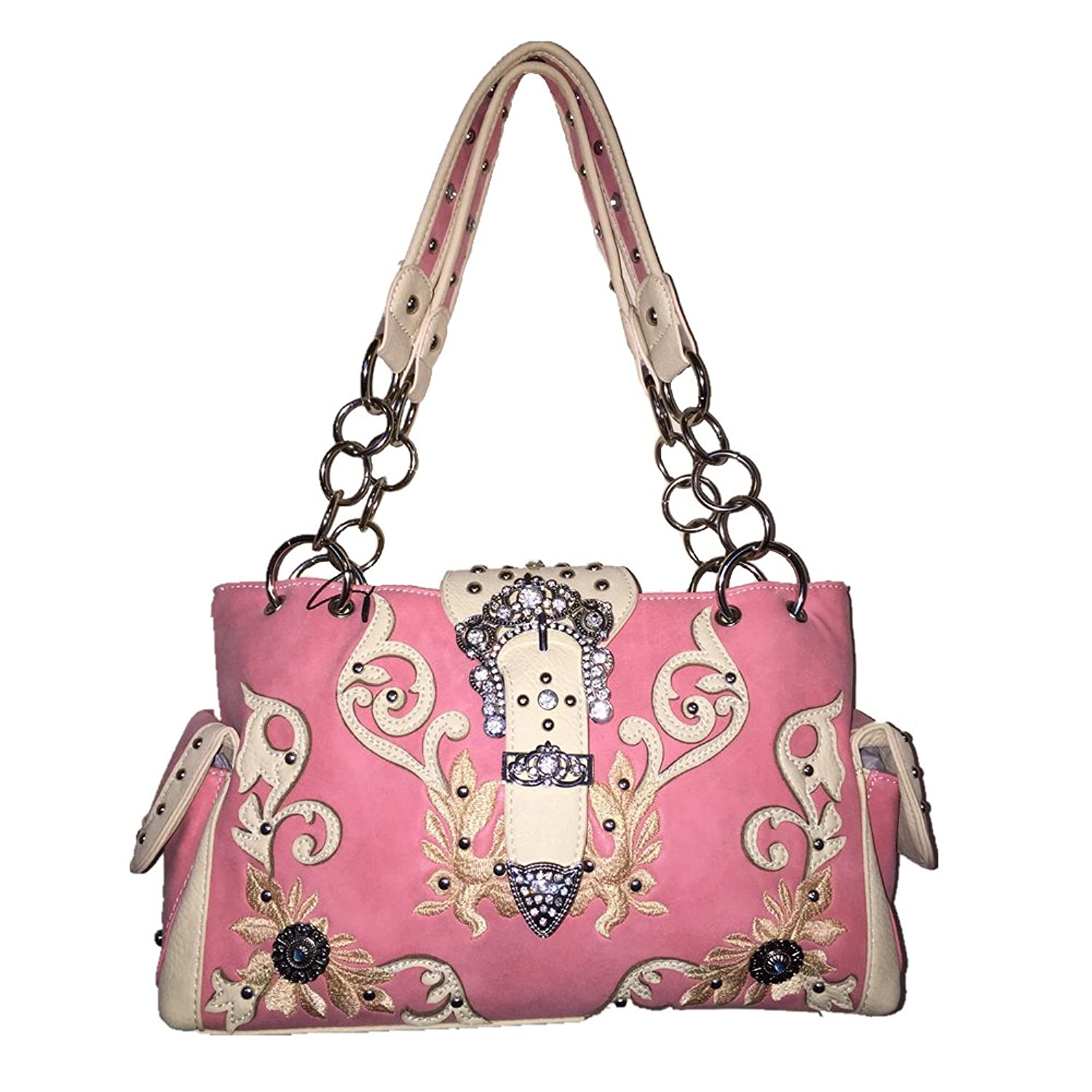 Western Rhinestone Cross Buckle Style Handbag Purse with Magnetic Closure and Matching Wallet 5238 in Pink