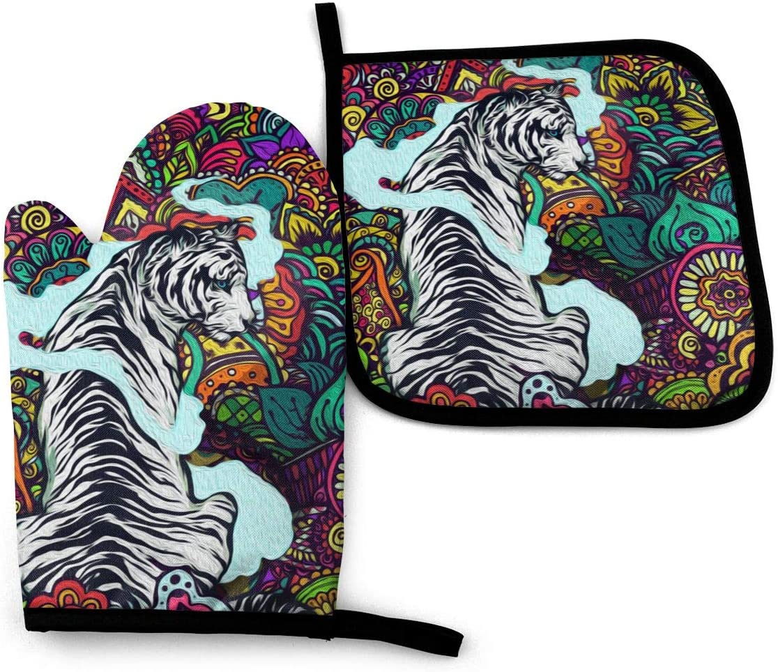 FunSpt Gaint White Tiger Colorful Flower Luxury Advanced Heat Resistant Oven Mitts and Kitchen Pot Holders Mittens for Cooking Oven Gloves and Pot Holders Set Potholders-9