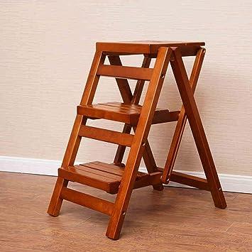 hogar cmodo plegable taburete para exterior banco de madera maciza taburete de tres escaleras