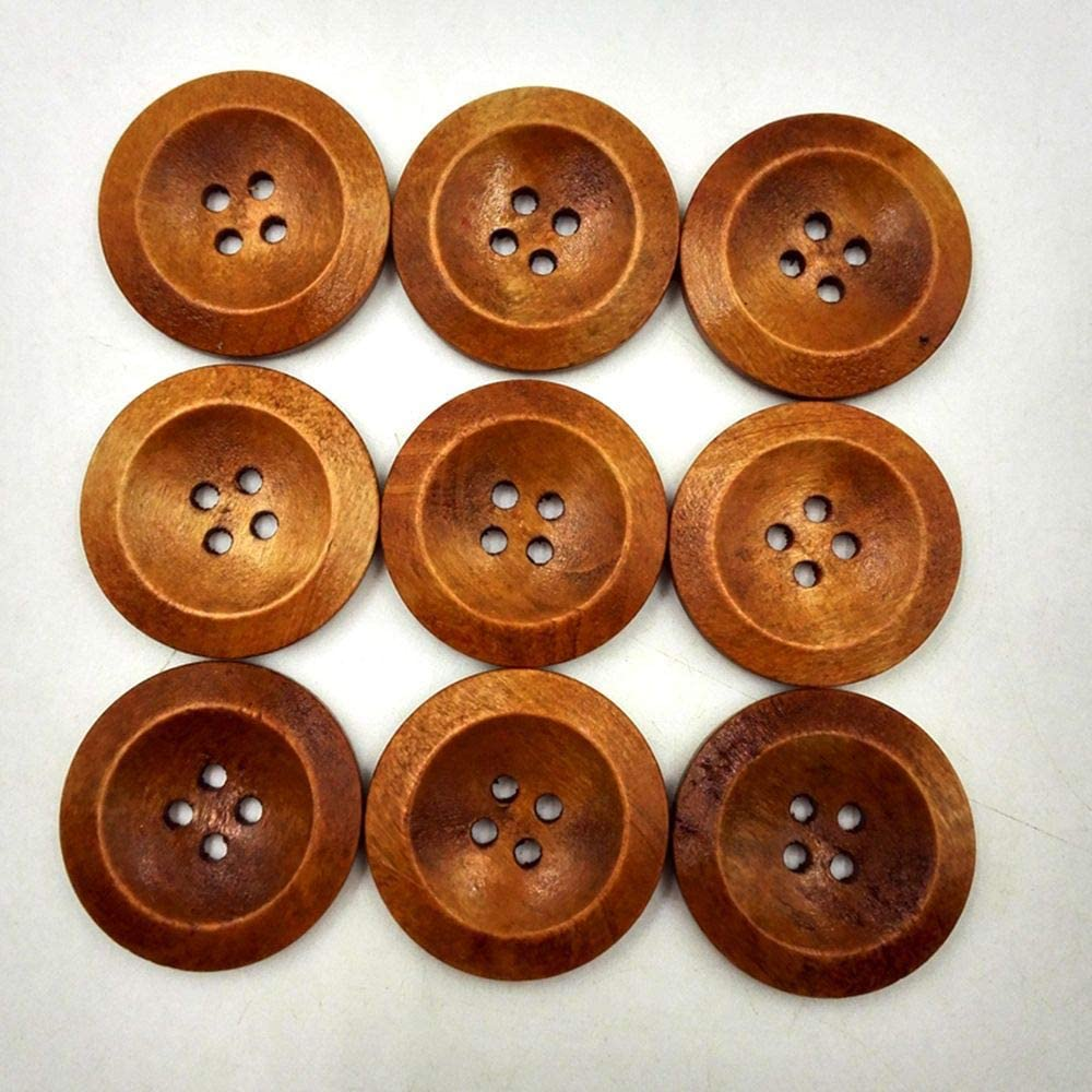 Color: size-50mm Maslin 10pcs 60mm//50mm Large Wooden Buttons Brown 4 Holes Round Sewing Coat Button Embellishments For Bags Scarfs Decorations
