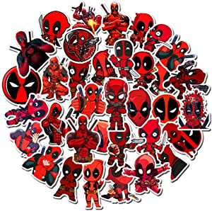 Ratgoo Random Graffiti Sticker Pack for Deadpool,35 Pcs Non-repetitive Appliques,Difficult to Fade,Long Lifetime,Ideal Decals for Your Water Bottle,iPhone,Laptop,Bike,Guitar and More