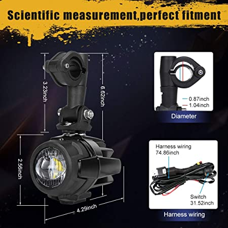 amazon com: suparee 2 pcs 40w led auxiliary lamp 6000k super bright fog  driving light kits led lighting bulbs drl for motorcycle bmw r1200gs f800gs  k1600