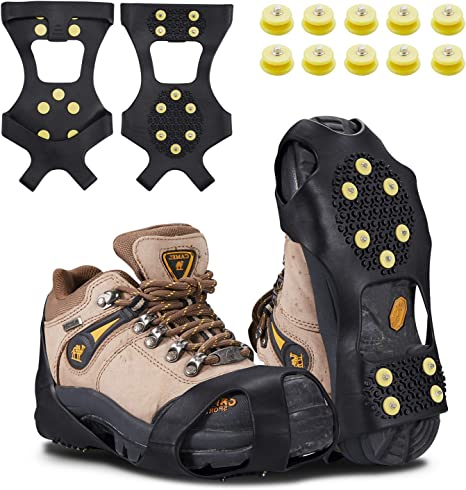 Pawaca 1 Pair Universal Size Walk Traction Cleats for Walking on Snow and Ice Anti-Slip Ice Grips Traction Cleats Grippers Spikes Crampons for Walking Jogging Hiking on Ice Slippy Ground