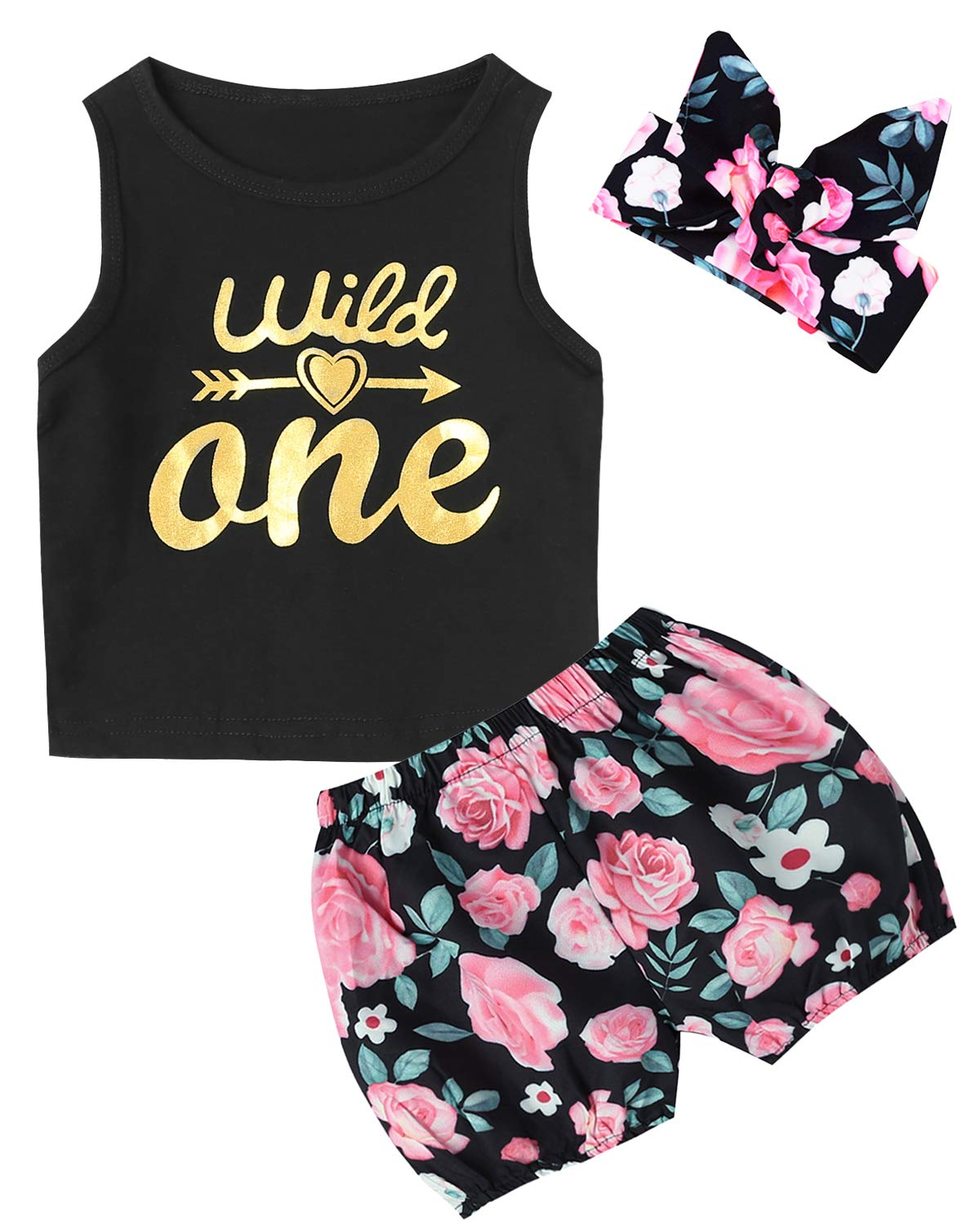 3PCS Baby Girls Wild One Outfit Set Floral Vest Skirt with Headband