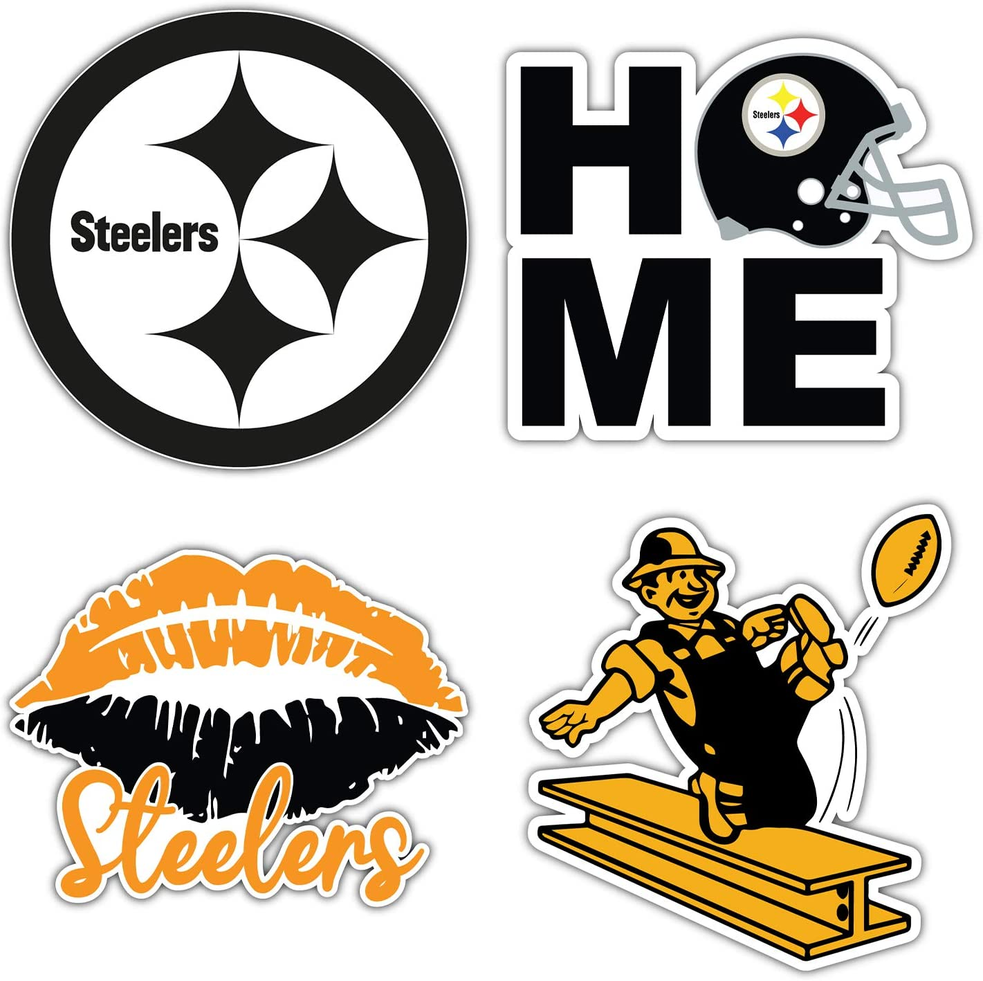 qualityprint Pittsburgh Steelers Set of 4 NFL Football Car Bumper Stickers Decals 5 Longer Side