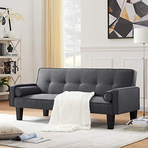 DKLGG Modern Futon Sofa Bed Convertible Love Seat Couch Folding Linen Fabric Sleeper Sofas - the best living room sofa for the money