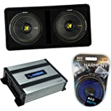 "Kicker DCWC12 Car Audio CompC Ported Dual 12"" Loaded Sub Box 44DCWC122 Bundle with Harmony HA-A400.1 Amplifier & Amp Kit"