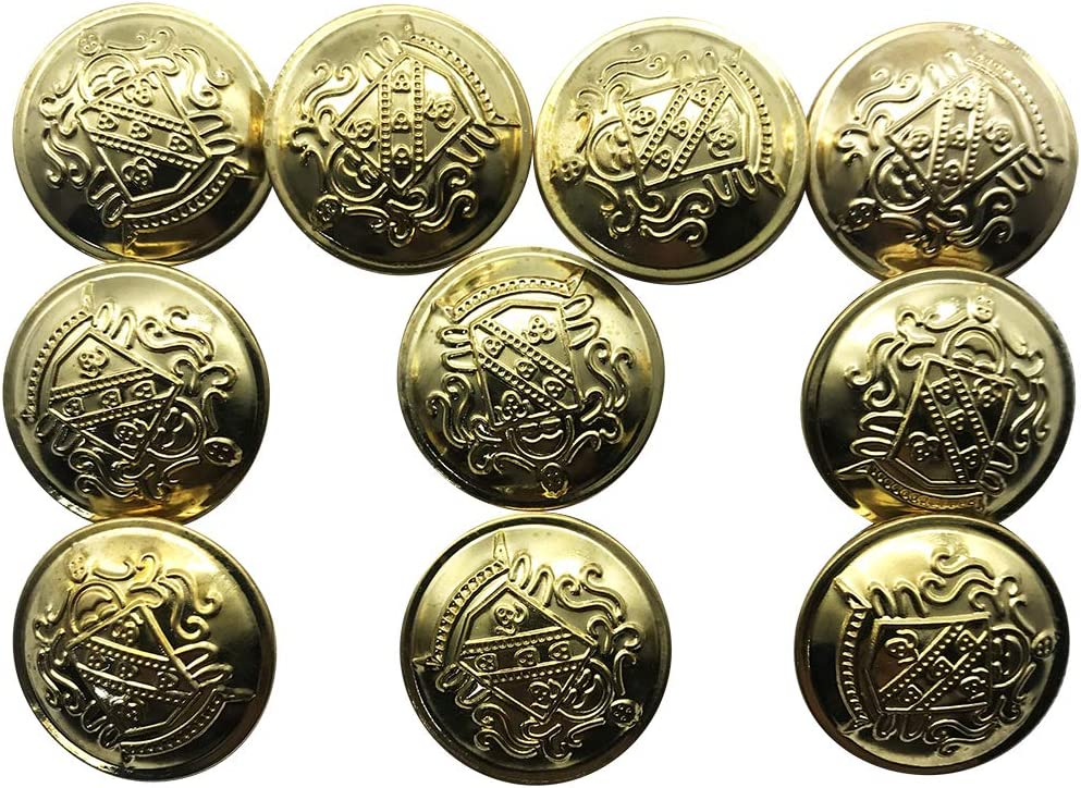 Q2048 ZQMALL 10pcs Antique Gold Metal Blazer Buttons Set with Shank Measuring 1 inch for Blazers,Suits,Jackets