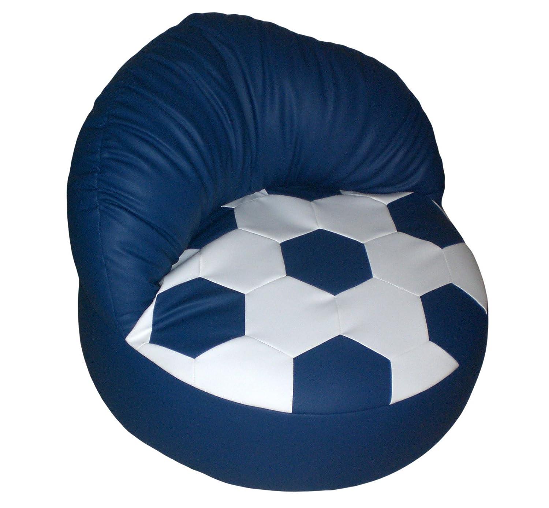 Knuffi Sessel zum Relaxen Relaxen Relaxen im Fussball Design weiß blau b0dda4